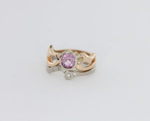 Payet gallery 18ct white gold and 18ct rose gold ring with spinel and diamonds