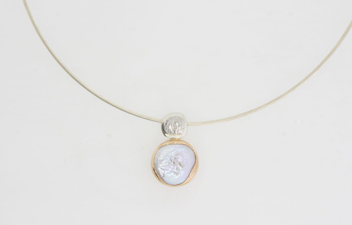 Payet button pearl silver rose gold