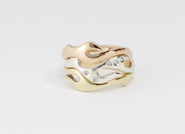 Payet 3 gold diamond seaweed ring