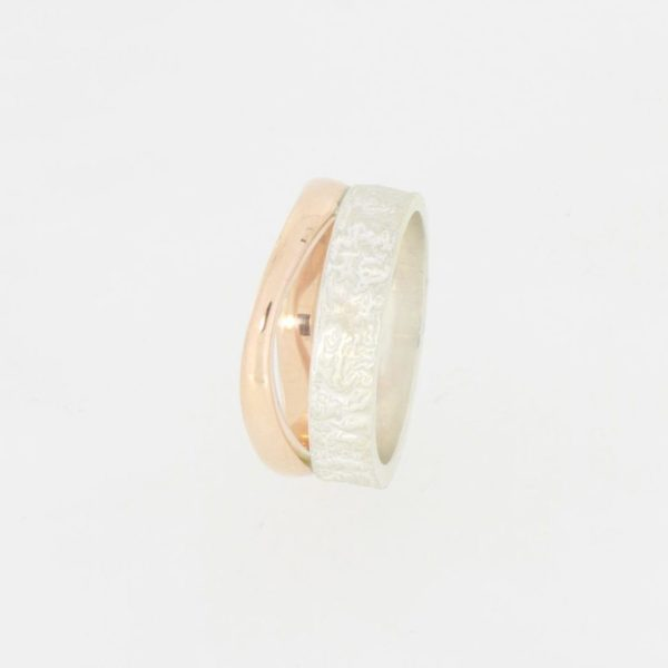 Payet reticulated silver & 9ct rose gold ring