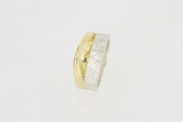 Payet textured & polished twin band ring
