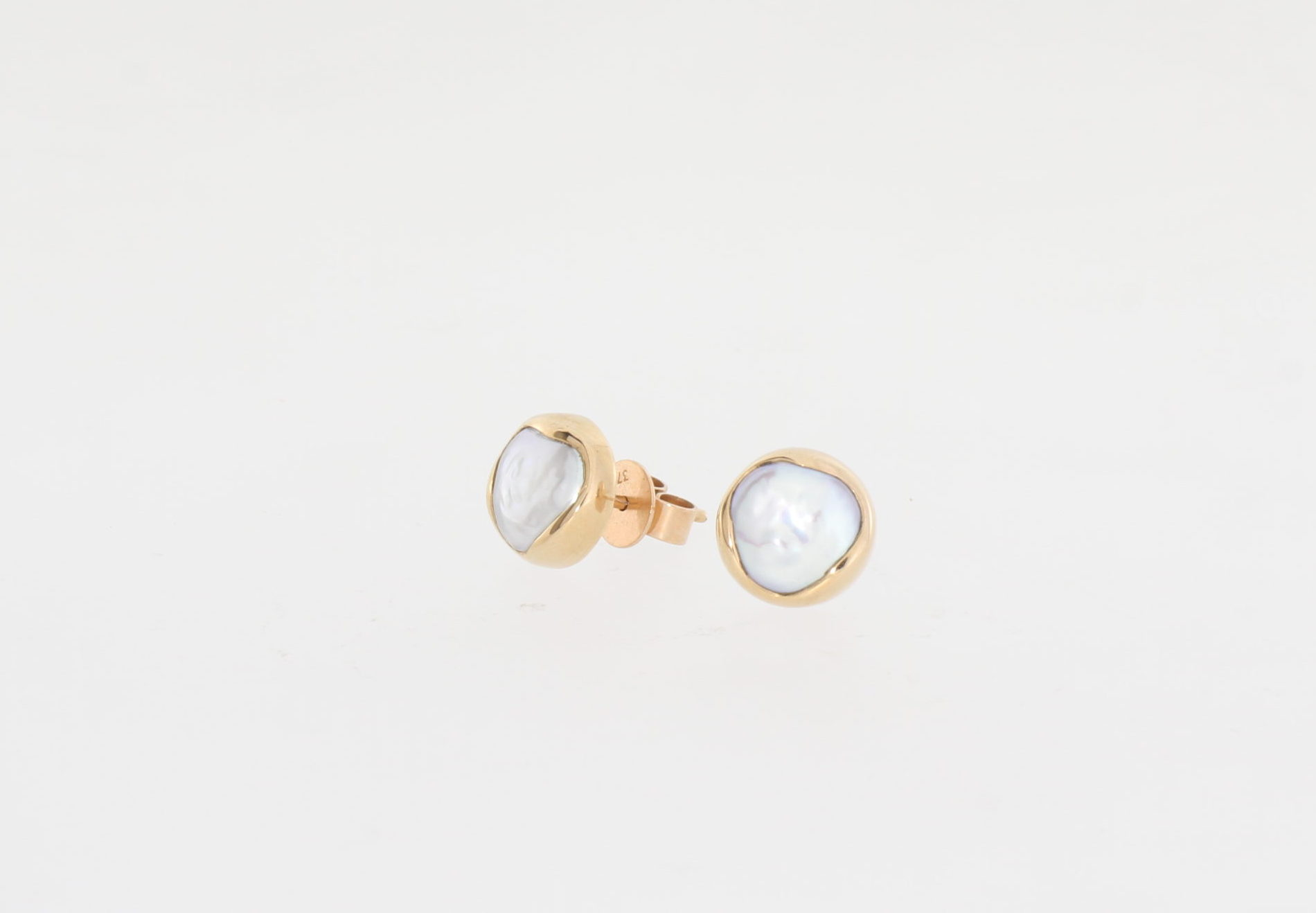 Payet rose gold fresh water button pearl studs