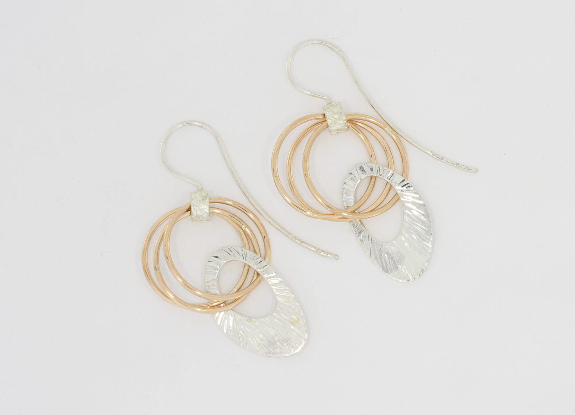 Payet link silver & rose gold earrings