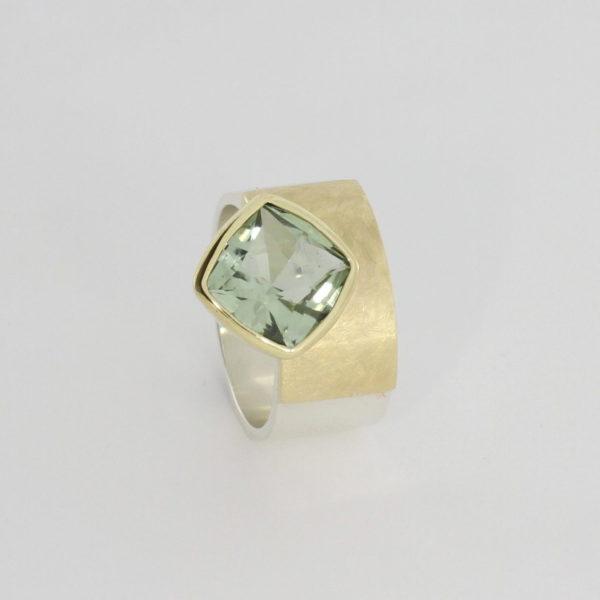 Payet cushion cut green quartz ring