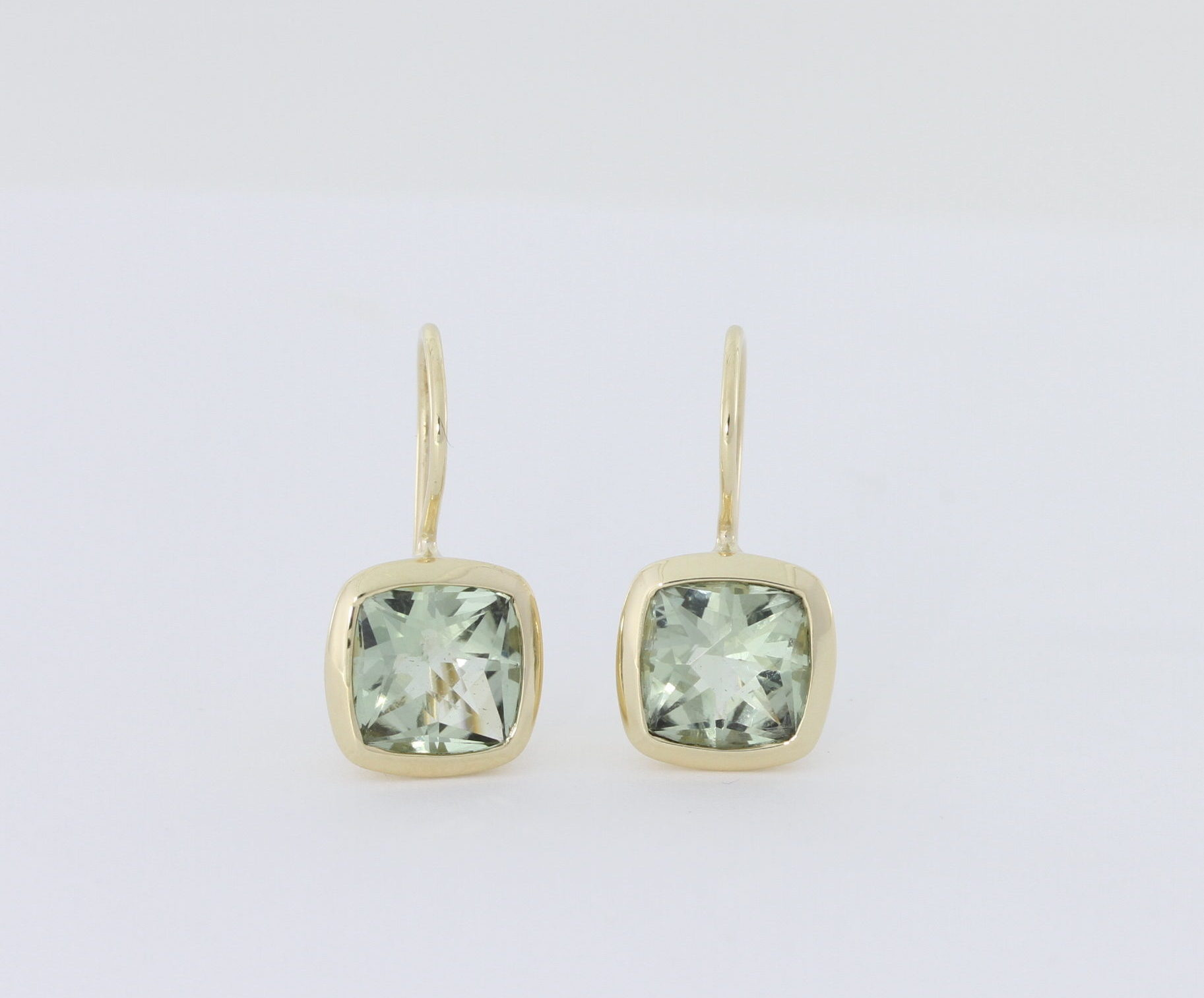 Payet green quartz cushion cut earrings