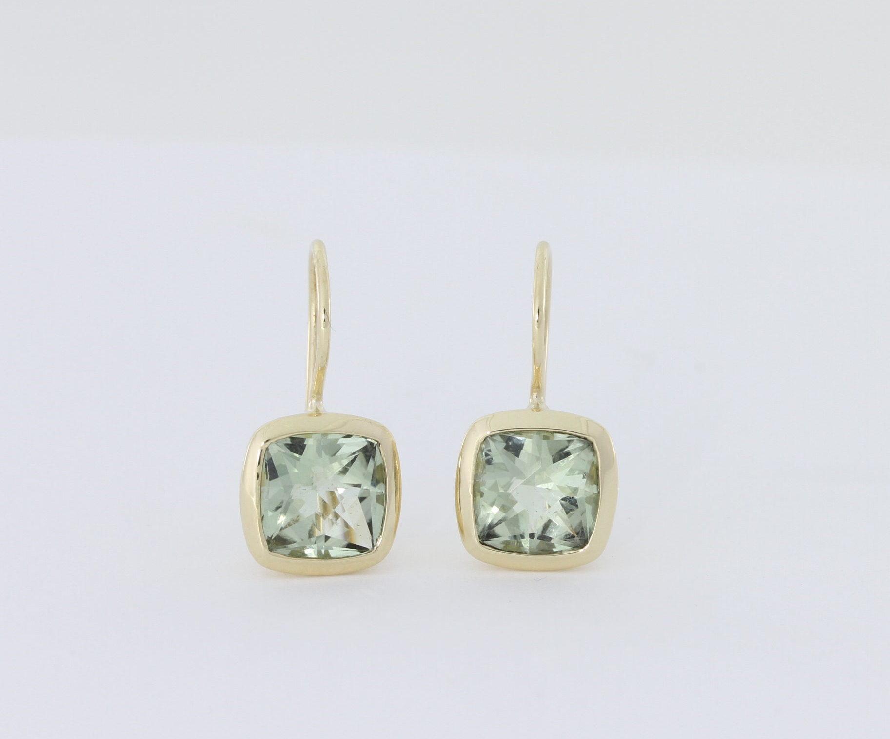 Payet green quartz cushion cut earrings