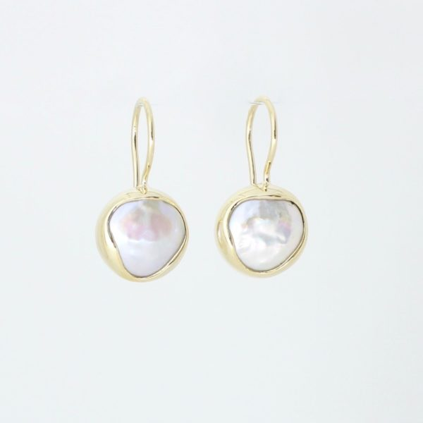 Payet fresh water button pearl drop earrings