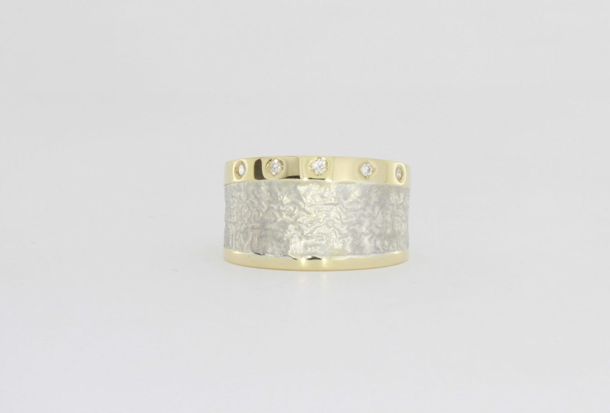 Payet silver & gold diamond ring