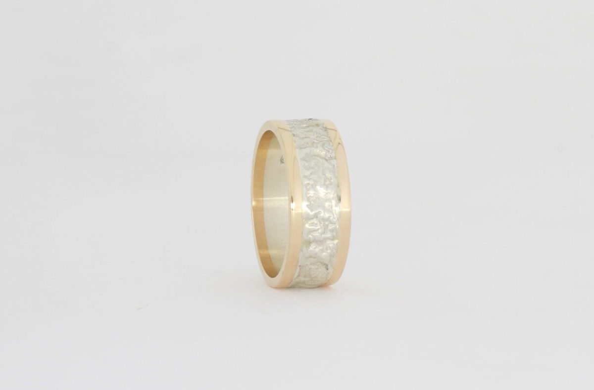 Payet reticulated silver & rose ring
