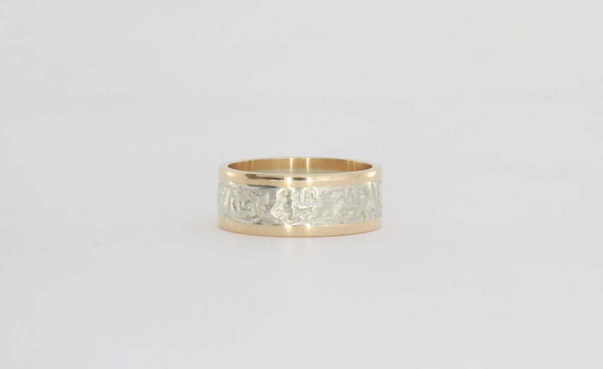 Payet retic silver & rose gold ring