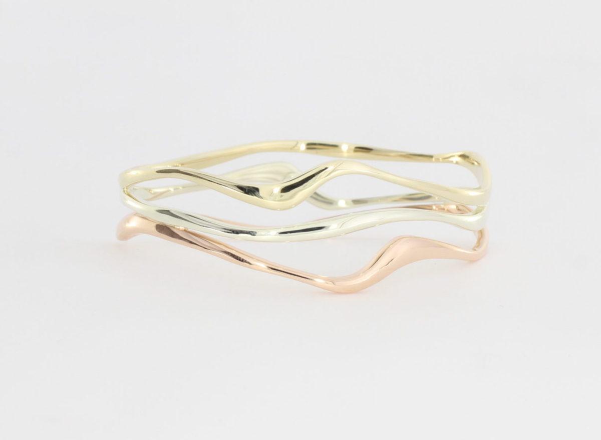 Payet triple gold wave bracelet