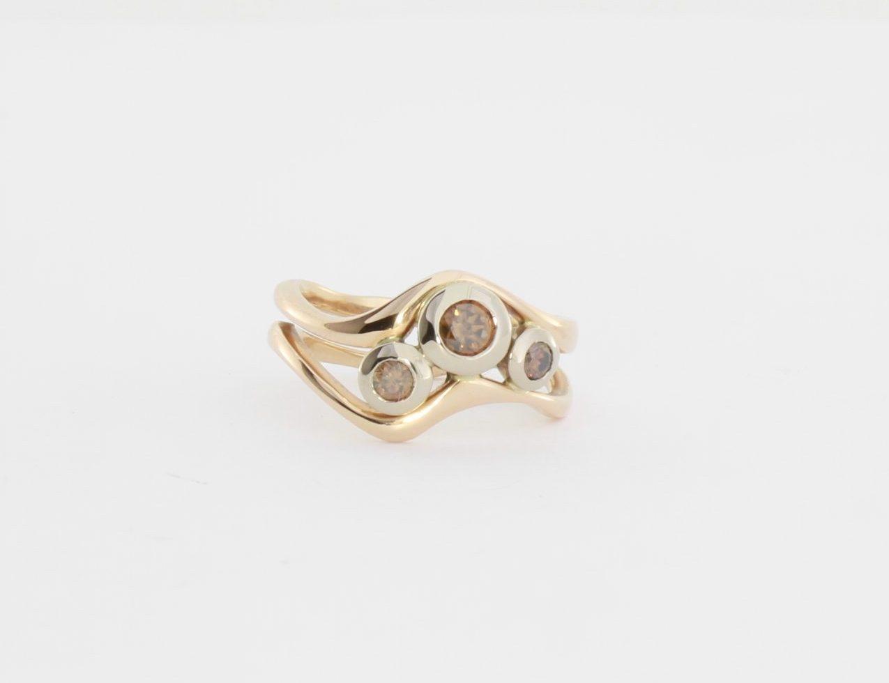 Payet triple cognac diamond ring