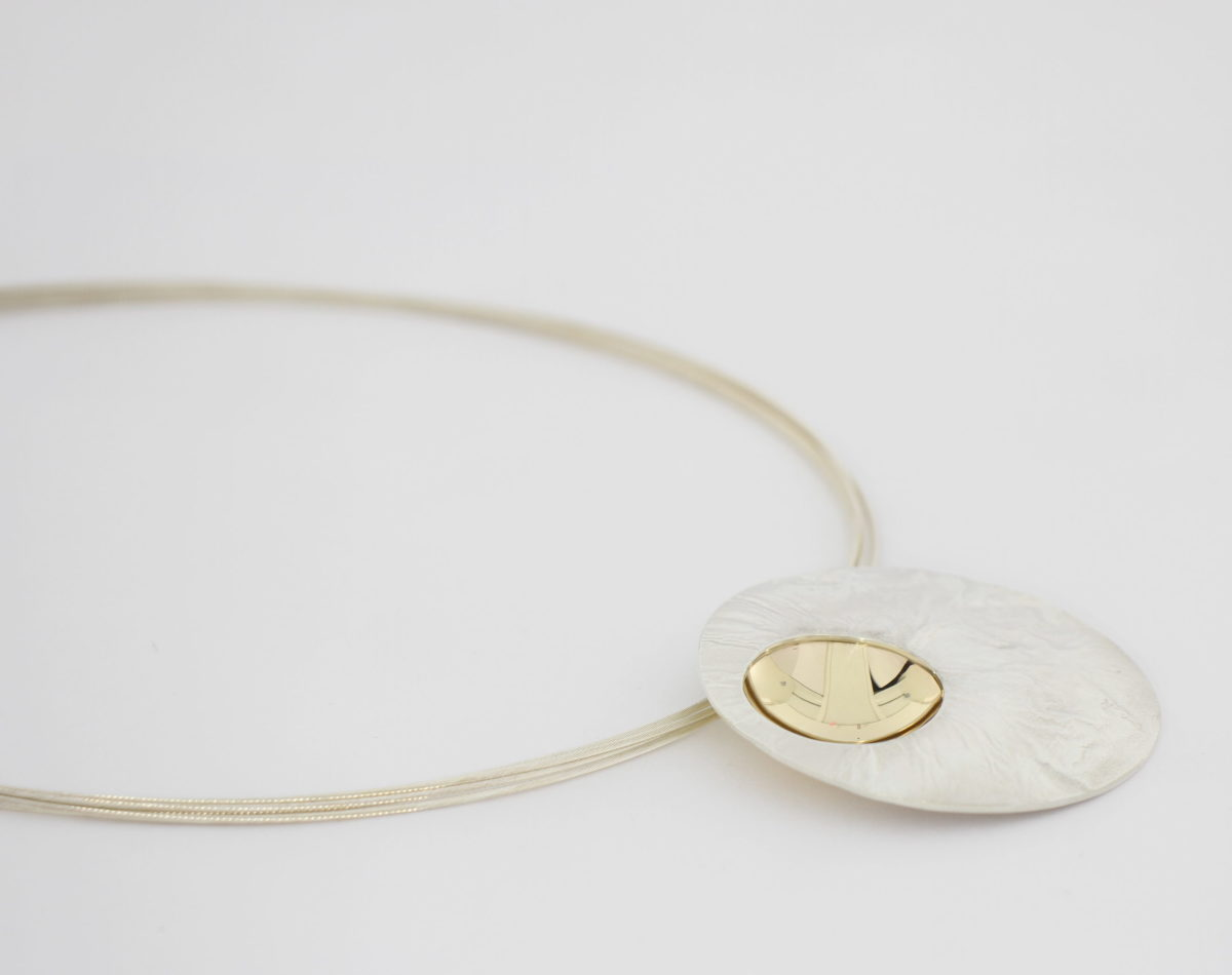 Payet textured silver & gold pendant