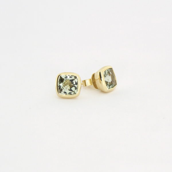 Payet small cushion cut green quartz studs
