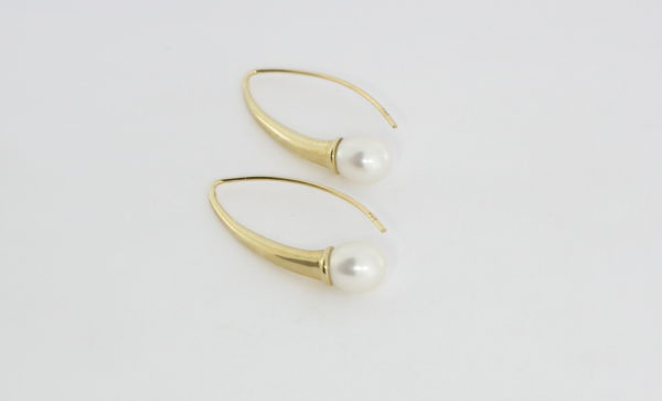 Payet long gold fresh water pearl earrings