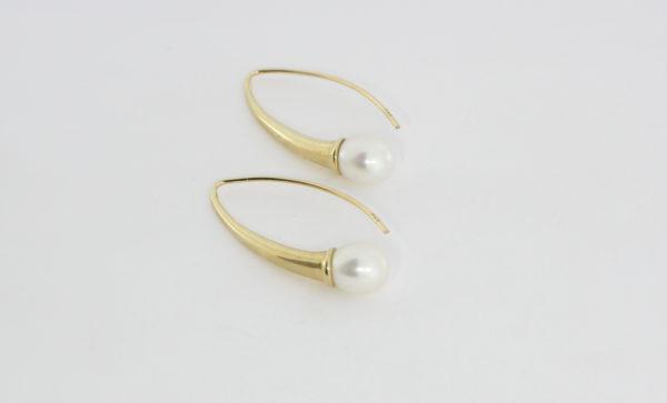 Payet long gold fresh water pearl earrings