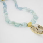 Payet aqua marine and rutilated quartz pendant