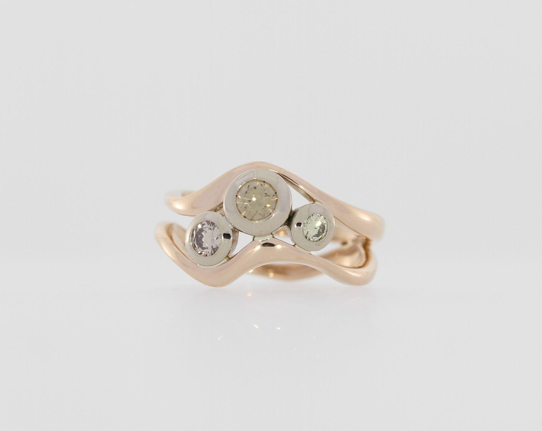 Payet gallery 3 colour diamond ring
