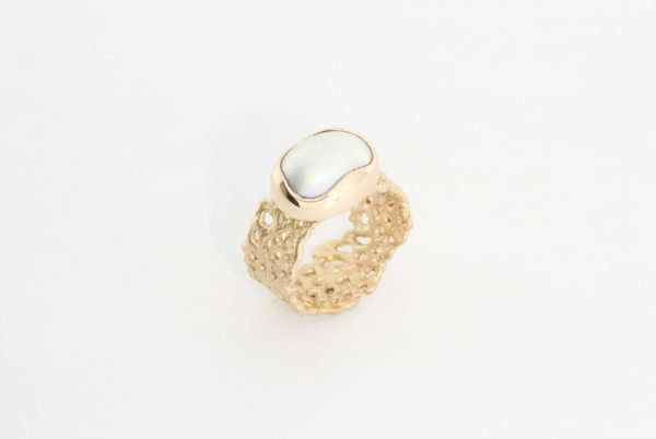 Payet ring south sea pearl set in 9ct rose gold